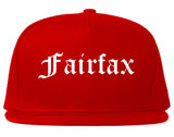 Fairfax Virginia VA Old English Mens Snapback Hat Red