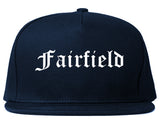 Fairfield California CA Old English Mens Snapback Hat Navy Blue