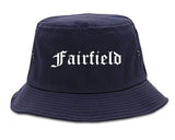 Fairfield Iowa IA Old English Mens Bucket Hat Navy Blue