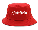 Fairfield Iowa IA Old English Mens Bucket Hat Red