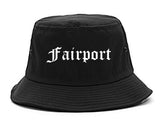 Fairport New York NY Old English Mens Bucket Hat Black
