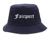 Fairport New York NY Old English Mens Bucket Hat Navy Blue