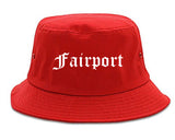 Fairport New York NY Old English Mens Bucket Hat Red