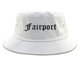 Fairport New York NY Old English Mens Bucket Hat White