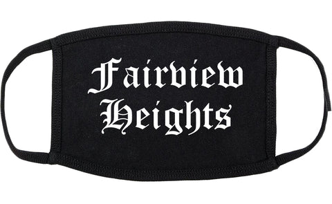 Fairview Heights Illinois IL Old English Cotton Face Mask Black