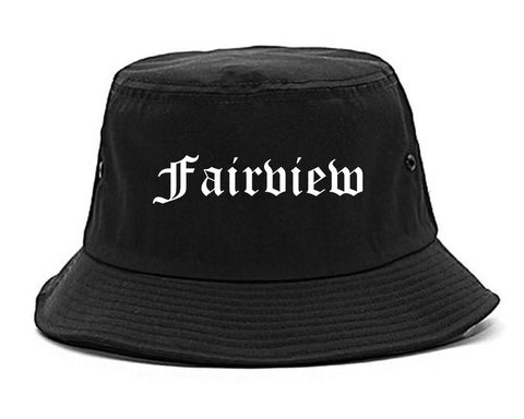 Fairview New Jersey NJ Old English Mens Bucket Hat Black
