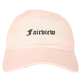 Fairview New Jersey NJ Old English Mens Dad Hat Baseball Cap Pink