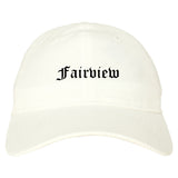 Fairview New Jersey NJ Old English Mens Dad Hat Baseball Cap White