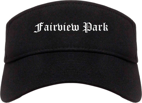 Fairview Park Ohio OH Old English Mens Visor Cap Hat Black