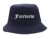 Fairview Texas TX Old English Mens Bucket Hat Navy Blue
