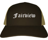 Fairview Texas TX Old English Mens Trucker Hat Cap Brown