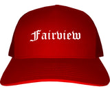 Fairview Texas TX Old English Mens Trucker Hat Cap Red