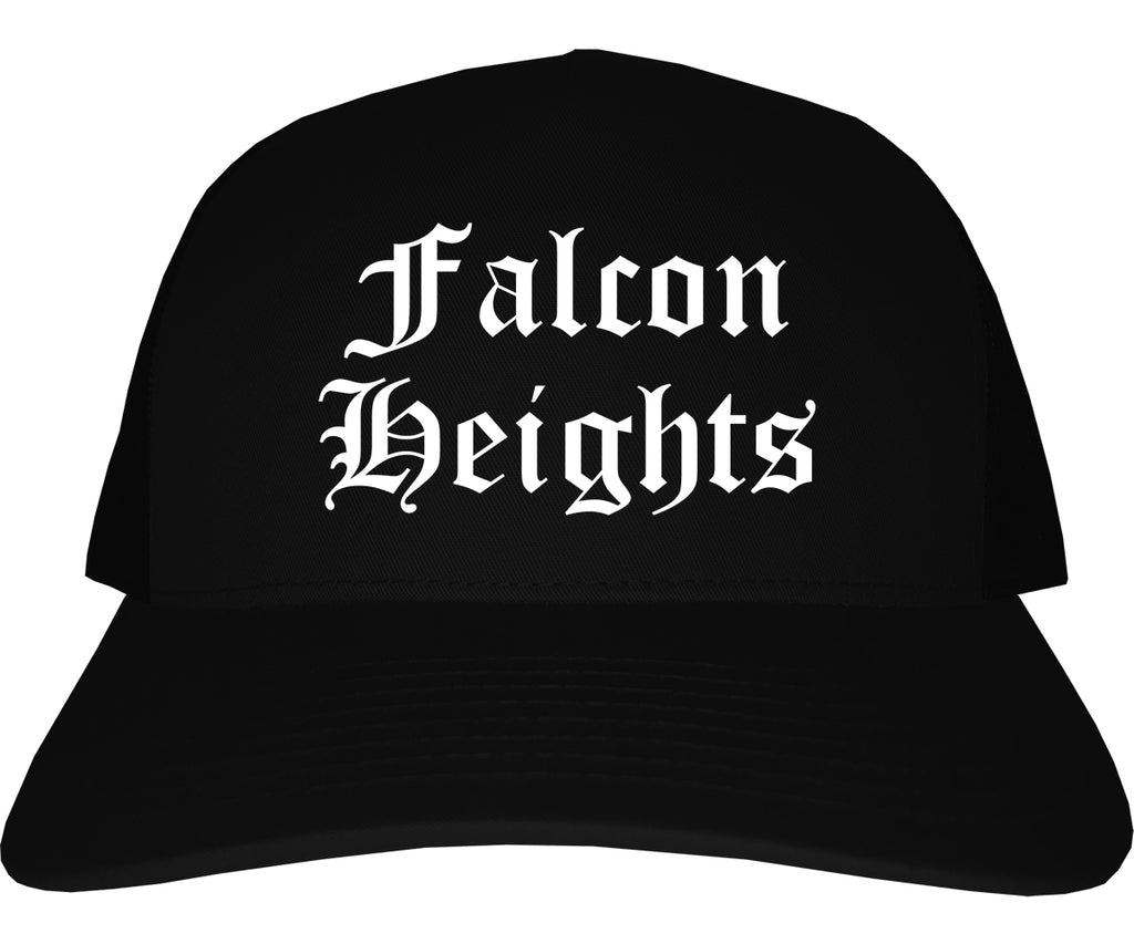 Falcon Heights Minnesota MN Old English Mens Trucker Hat Cap Black