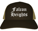 Falcon Heights Minnesota MN Old English Mens Trucker Hat Cap Brown