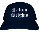 Falcon Heights Minnesota MN Old English Mens Trucker Hat Cap Navy Blue
