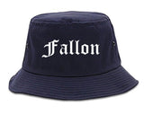 Fallon Nevada NV Old English Mens Bucket Hat Navy Blue