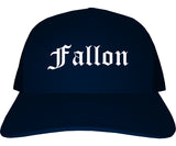 Fallon Nevada NV Old English Mens Trucker Hat Cap Navy Blue