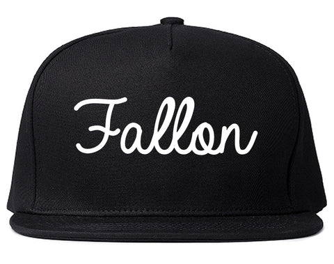 Fallon Nevada NV Script Mens Snapback Hat Black
