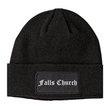 Falls Church Virginia VA Old English Mens Knit Beanie Hat Cap Black