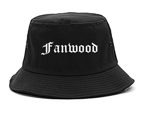 Fanwood New Jersey NJ Old English Mens Bucket Hat Black