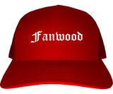 Fanwood New Jersey NJ Old English Mens Trucker Hat Cap Red