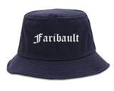 Faribault Minnesota MN Old English Mens Bucket Hat Navy Blue