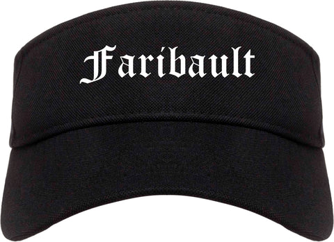 Faribault Minnesota MN Old English Mens Visor Cap Hat Black