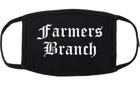 Farmers Branch Texas TX Old English Cotton Face Mask Black
