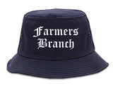 Farmers Branch Texas TX Old English Mens Bucket Hat Navy Blue