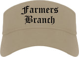 Farmers Branch Texas TX Old English Mens Visor Cap Hat Khaki
