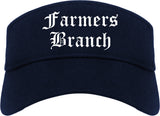 Farmers Branch Texas TX Old English Mens Visor Cap Hat Navy Blue