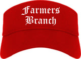 Farmers Branch Texas TX Old English Mens Visor Cap Hat Red