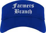 Farmers Branch Texas TX Old English Mens Visor Cap Hat Royal Blue