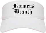 Farmers Branch Texas TX Old English Mens Visor Cap Hat White