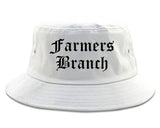 Farmers Branch Texas TX Old English Mens Bucket Hat White