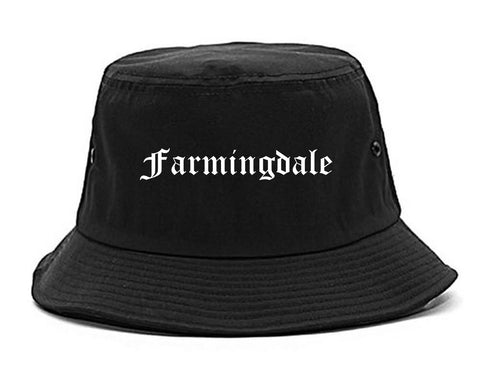 Farmingdale New York NY Old English Mens Bucket Hat Black