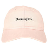 Farmingdale New York NY Old English Mens Dad Hat Baseball Cap Pink