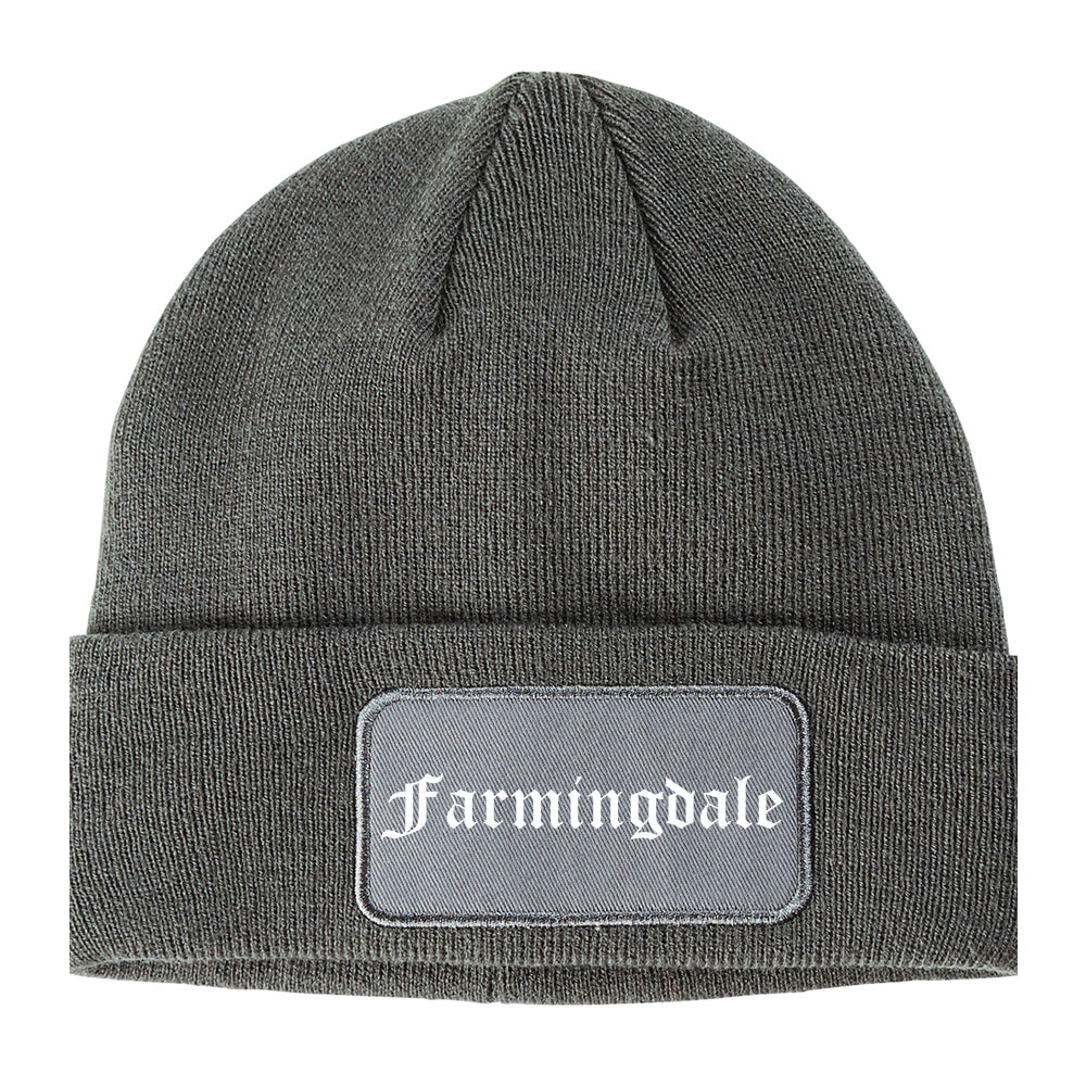 Farmingdale New York NY Old English Mens Knit Beanie Hat Cap Grey