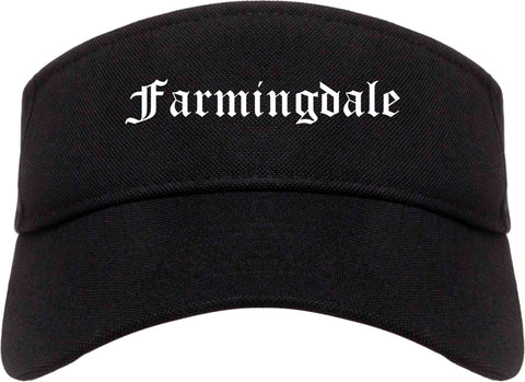 Farmingdale New York NY Old English Mens Visor Cap Hat Black