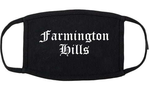 Farmington Hills Michigan MI Old English Cotton Face Mask Black