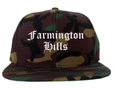 Farmington Hills Michigan MI Old English Mens Snapback Hat Army Camo