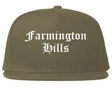 Farmington Hills Michigan MI Old English Mens Snapback Hat Grey