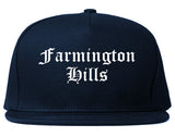 Farmington Hills Michigan MI Old English Mens Snapback Hat Navy Blue