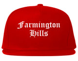 Farmington Hills Michigan MI Old English Mens Snapback Hat Red