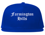 Farmington Hills Michigan MI Old English Mens Snapback Hat Royal Blue