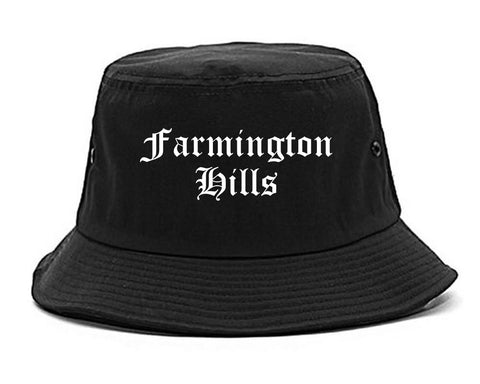 Farmington Hills Michigan MI Old English Mens Bucket Hat Black