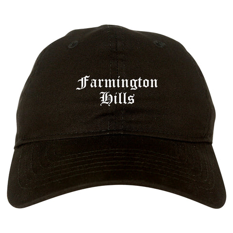 Farmington Hills Michigan MI Old English Mens Dad Hat Baseball Cap Black