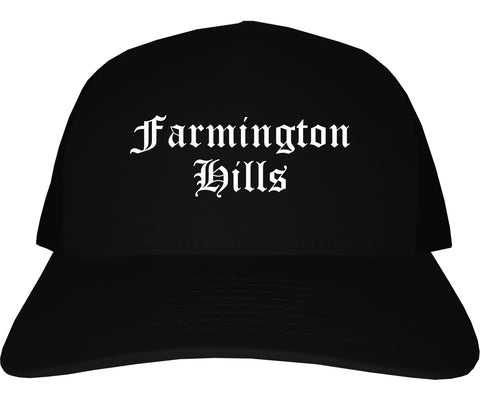 Farmington Hills Michigan MI Old English Mens Trucker Hat Cap Black