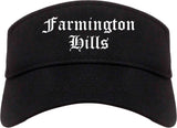 Farmington Hills Michigan MI Old English Mens Visor Cap Hat Black