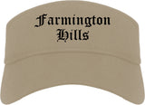 Farmington Hills Michigan MI Old English Mens Visor Cap Hat Khaki